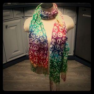 Tye dye peace sign scarf